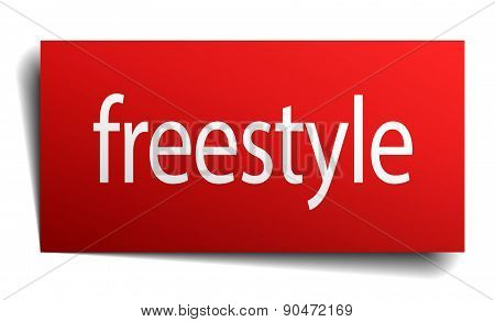 Freestyle Red Square Isolated Paper Sign On White