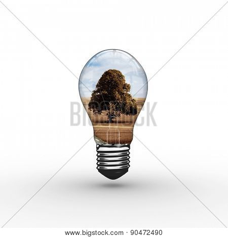 Empty light bulb against road leading out to the horizon
