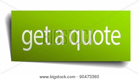Get A Quote Green Paper Sign Isolated On White