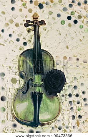 Old Violin With Musical Notes And Rose Closeup