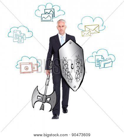 Cloud computing doodle against corporate warrior
