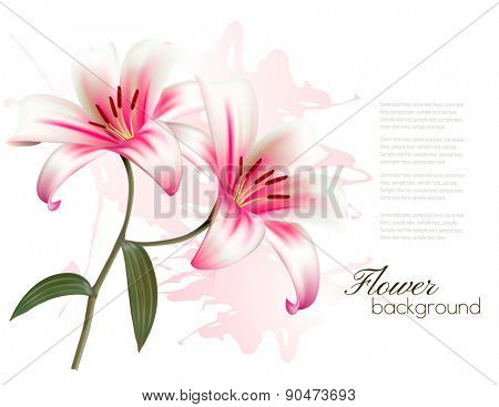Flower Background With Two Beautiful Lilies. Vector.