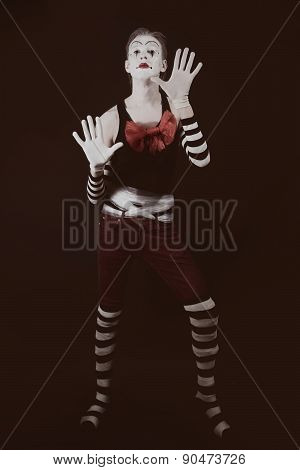 Theatrical Funny Clown With  Big Red Bow