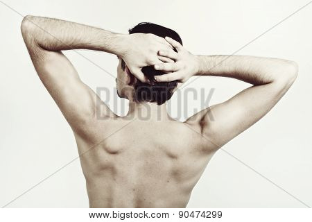 Back Of Young Naked Man With Beautiful Body