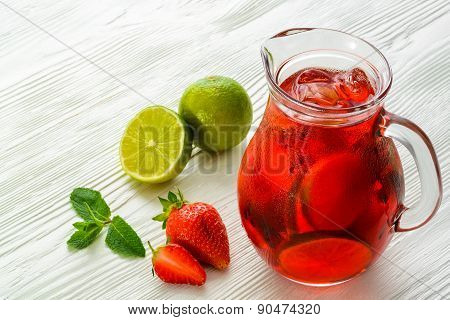 Coctail. Refreshing summer drink with Strawberry in jug