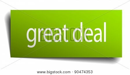Great Deal Green Paper Sign Isolated On White