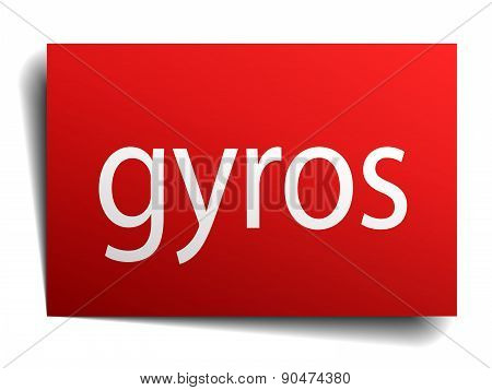 Gyros Red Square Isolated Paper Sign On White