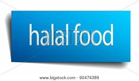 Halal Food Blue Paper Sign On White Background