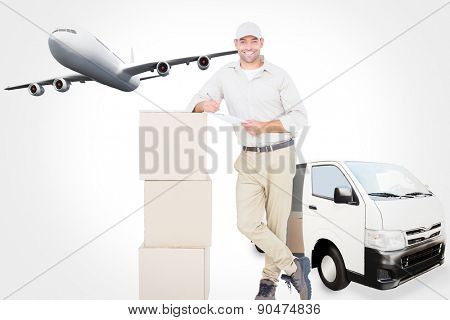 Delivery man with clipboard leaning on cardboard boxes against graphic airplane