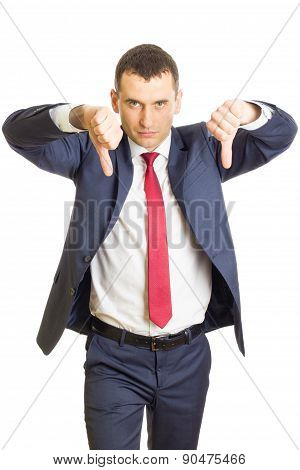 Disappointed Businessman With Thumbs Down