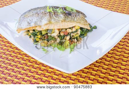 Roasted Rainbow Trout on a Bed of Spring Vegetables