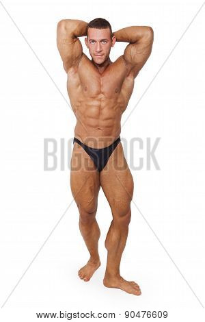Bodybuilder Posing Isolated.