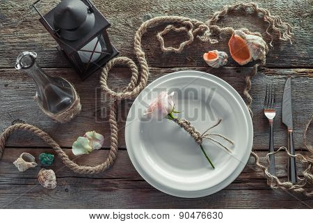 Table Setting In Retro Style, Top View. Retro Stylized.