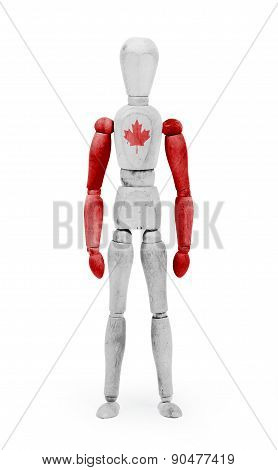 Wood Figure Mannequin With Flag Bodypaint - Canada