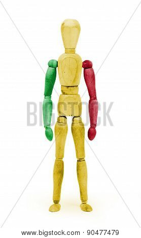 Wood Figure Mannequin With Flag Bodypaint - Mali