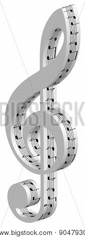 3d treble clef on white background