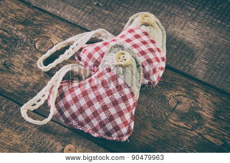 Rag Hearts On Wooden Planks