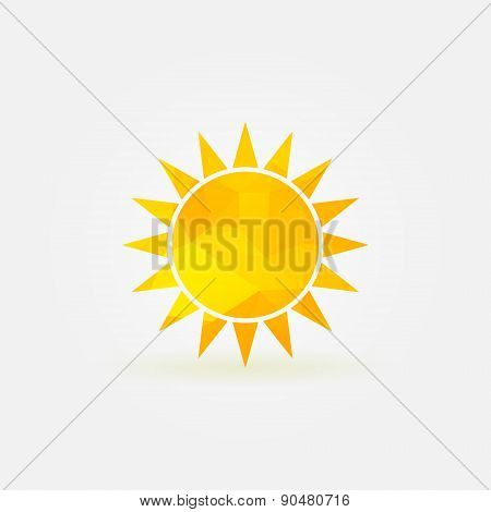 Yellow sun polygonal logo or poly icon