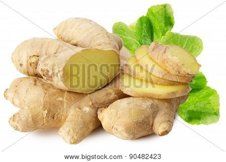 Ginger Roots Isolated On The White Background