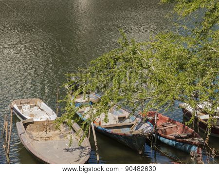 Old boats on river