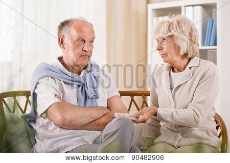 Senior Man Refusing Taking Medicament