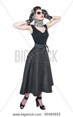 Young Beautiful Woman In Retro Pin Up Style Posing Isolated