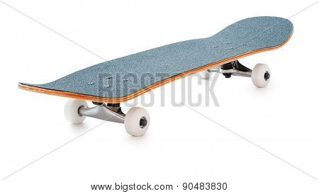 New skateboard isolated on white background. Deep depth of field, all elements of the board are in focus.
