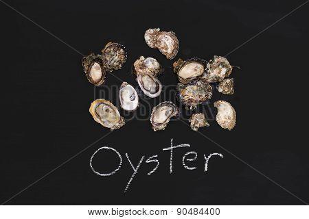 Oyster Fresh Zinc Seafood Appetizer Blackboard Tasty