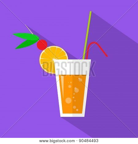Cocktail Drinks Glass Flat Icon Vector