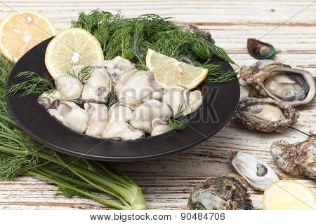 Oyster Seafood Lemon Fresh Mussel Asia Appetizer