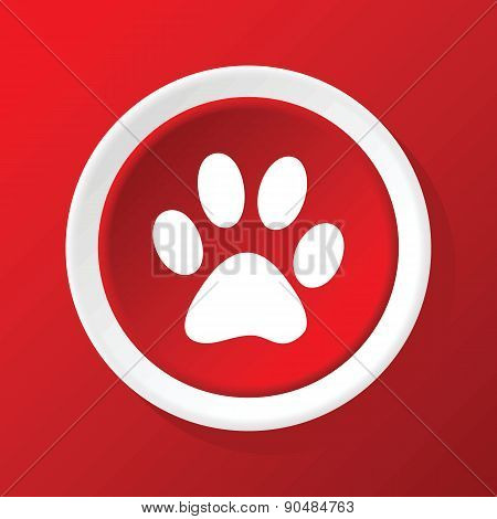Paw icon on red