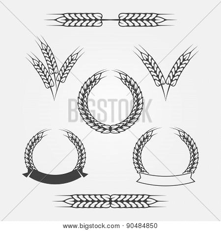 Wheat or rye icons set