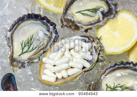 Zinc Capsule Supplementary  Food Oyster Seafood Lemon