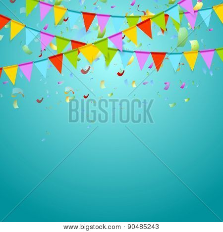 Party flags colorful celebrate abstract background with confetti. Vector design