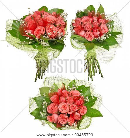 three bunches of pink rose flowers isolated on white background