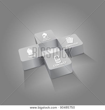Gray cross background for companies with four icons for company presentation
