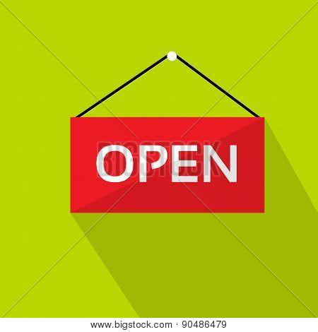 Open Door Text Sign Red Shop Label over Green