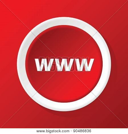 WWW icon on red