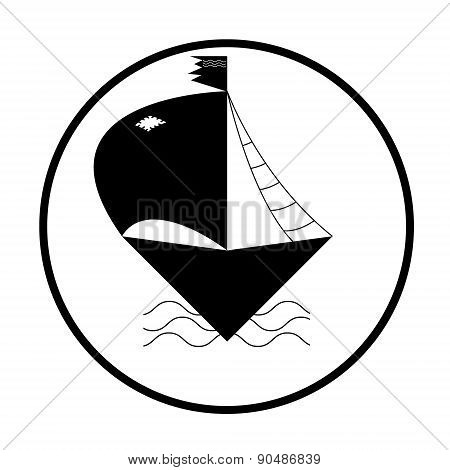 Ship Or Boat Sign Icon. Shipping Delivery Symbol. Circle Buttons With Long Shadow.