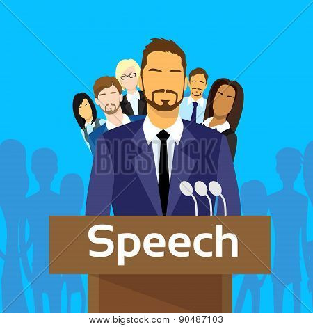 Tribune Speech Businessman Politic with Team People Group