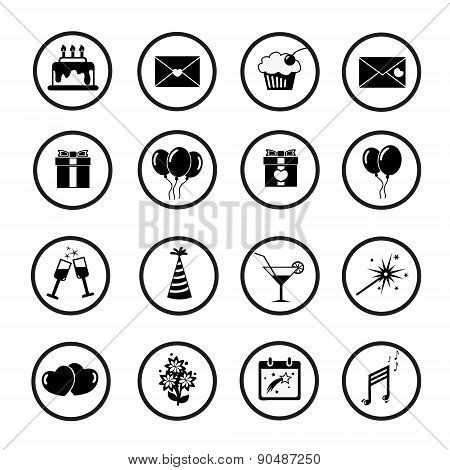 Set Of Celebratory Icons, Symbols. Vector.