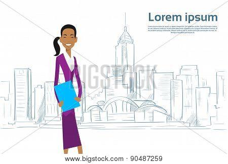 Businesswoman Cartoon over Sketch City Skyscraper