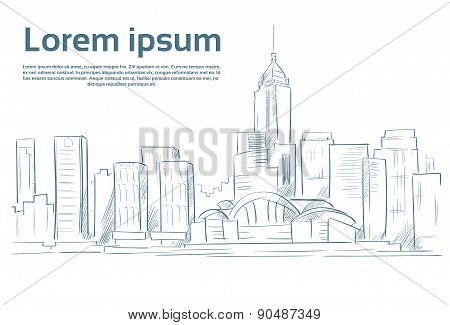 City Skyscraper Sketch View Cityscape Skyline Vector