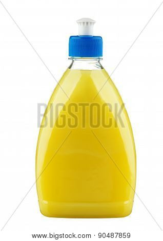 Detergent In Yellow Plastic Bottle