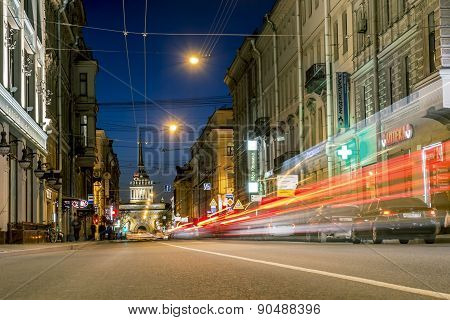 Views From Gorohovaya Street To The Admiralty For Night Illumination In Saint-petersburg.russia.