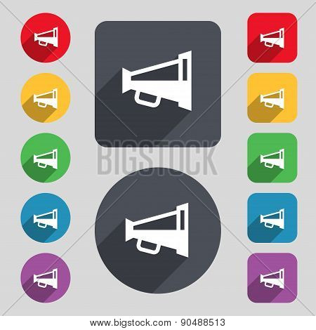 Megaphone Soon, Loudspeaker Icon Sign. A Set Of 12 Colored Buttons And A Long Shadow. Flat Design. V