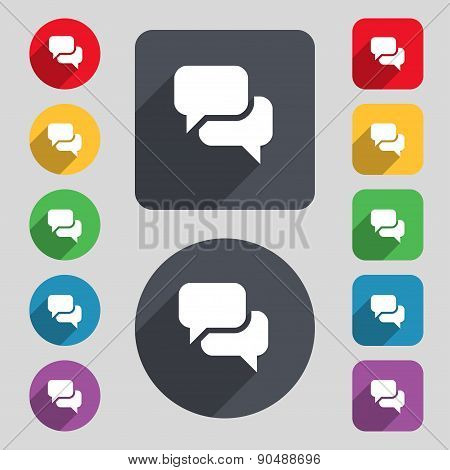 Speech Bubble, Think Cloud Icon Sign. A Set Of 12 Colored Buttons And A Long Shadow. Flat Design. Ve