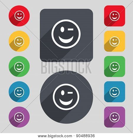 Winking Face Icon Sign. A Set Of 12 Colored Buttons And A Long Shadow. Flat Design. Vector