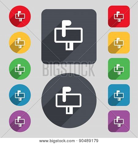 Mailbox Icon Sign. A Set Of 12 Colored Buttons And A Long Shadow. Flat Design. Vector