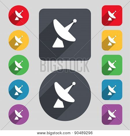 Satellite Dish Icon Sign. A Set Of 12 Colored Buttons And A Long Shadow. Flat Design. Vector